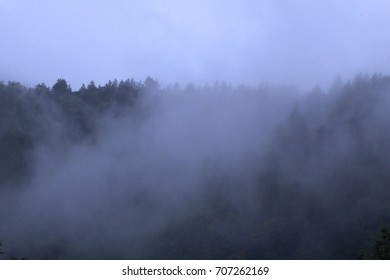 Mountains Covered in Heavy Fog