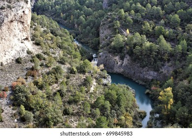 The mountains of Cuenca, spain, mountain river Jucar, Ventano of the devil,