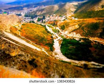 Mountains of Dagestan, tilt shift.