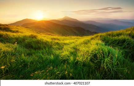 Photo of Mountains during sunset. Beautiful natural landscape in the summer time