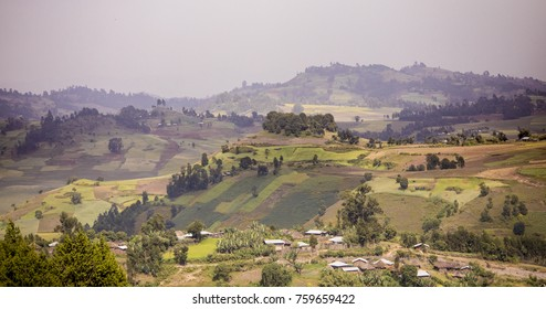Mountains, farms, and houses in the highlands of Ethiopia