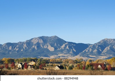 Mountains and farms on a bright autumn day near Boulder, Colorado