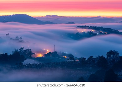 Mountains in fog at beautiful night in autumn in Dalat city, Vietnam. Landscape with Langbiang mountain valley, low clouds, forest, colorful sky with stars, city illumination at dusk.