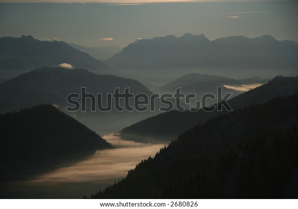 mountains foggy and mysterious