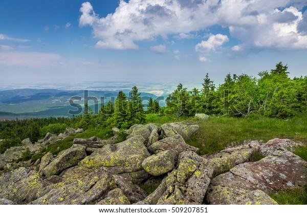 Berge und Wald des Harz im Sonnenlicht, Deutschland