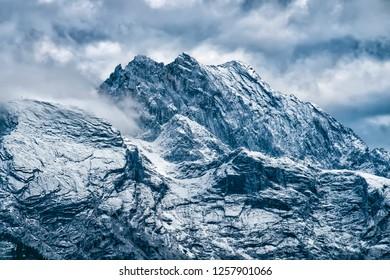 Mountains of Garmisch-Partenkirchen with snow in Bavaria, Germany in autumn