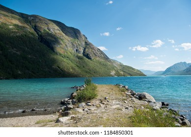 mountains and Gjende lake in Jotunheimen National Park, Norway