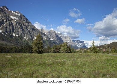 The mountains of Glacier National Park near the east entrance