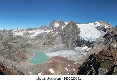 Mountains and glaciers in the Alps. Group of Bernina, glacier of Fellaria. Valtellina, Province of Sondrio - Valmalenco