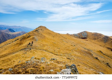 Mountains in golden grass in autumn, Lagodekhi national park, Georgia