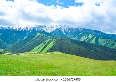 mountains and grasslands, blue sky and white clouds