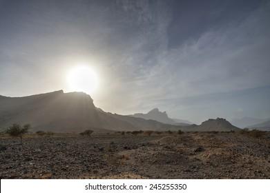 Mountains with gravel desert, Oman