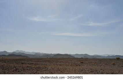 Mountains in gravel desert, Oman
