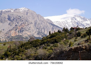 Mountains in Greece with snow covering some of the peaks near Delphi