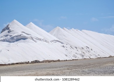 Mountains of Harvested Salt on Dutch Caribbean Island Bonaire