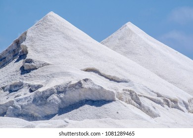 Mountains of Harvested Salt on Dutch Caribbean Island Bonaire