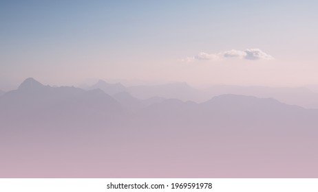 Mountains in the haze. Pastel colored mountain landscape panorama. Pure and clean background with copy space.