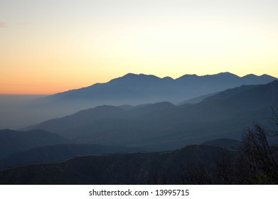 Mountains in hazy sunset light; San Bernardino, California