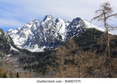 Mountains High tatry in snow Lomnicky Stit, Slovakia