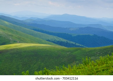 Mountains and hills panoramic. Western Ukraine, Carpathian Mountains.