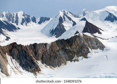 Mountains and ice fields in Kluane National Park, Yukon, Canada