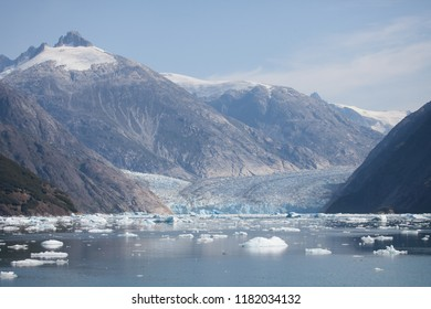 Mountains, Icebergs, and a Glacier in Alaska