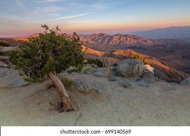 The mountains illuminate during sunset at Keys View, Joshua Tree National Park.