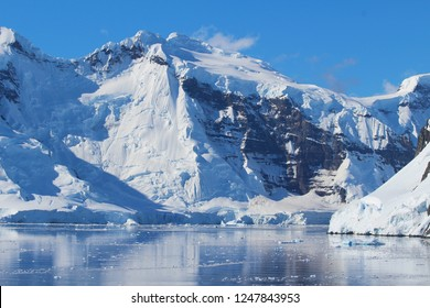 Mountains illuminated by sun in Antarctica
