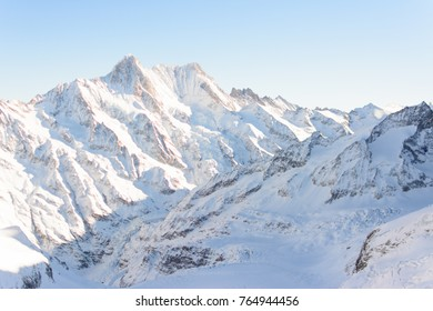 Mountains, Jungfrau, Switzerland, View of the mountains from the top. Beautiful and amazing Jungfrau landscape in Switzerland. Snow mountains view at Jungfrau viewpoint