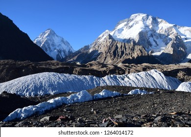 The mountains of K2 (left peak) and Broad Peak (right peak) ,K2 is  is the second highest mountain in the world along Pakistan