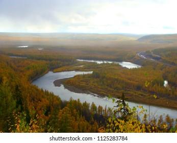 Mountains at Kolyma river Russia