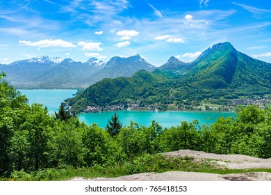 The mountains of Lake Annecy on beautiful summer day, France