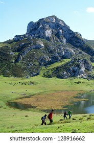 Mountains and lake (Covadonga, Spain)