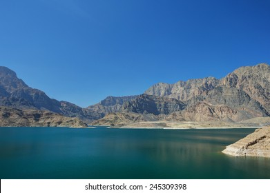 Mountains with lake in Oman