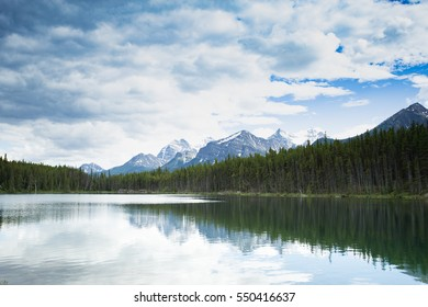 mountains and lake panoramic of Banff National Park in spring