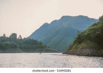 The mountains and lake scenery in sunset