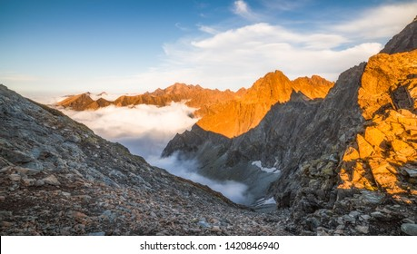 Mountains Landscape with Inversion at Sunset as seen from Sedlo Vaha in High Tatras, Slovakia