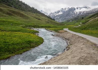 Mountains landscape near Livigno,  an Italian town in the province of Sondrio in Lombardy and renowned winter and summer tourist resort in the Alps, Italy.