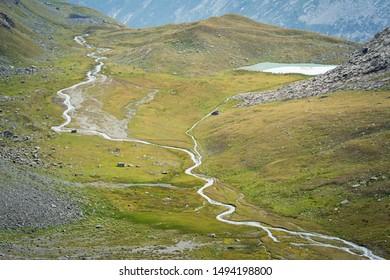 Mountains landscape: Nivolet plateau in Gran Paradiso National Park (GPNP). Italian Alps. Itay