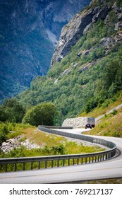 Mountains landscape in Norway with the road