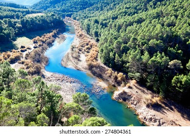 Mountains landscape with river. Guadalquivir river