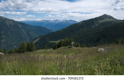 Mountains landscape in spring in Valtellina, northern Italy