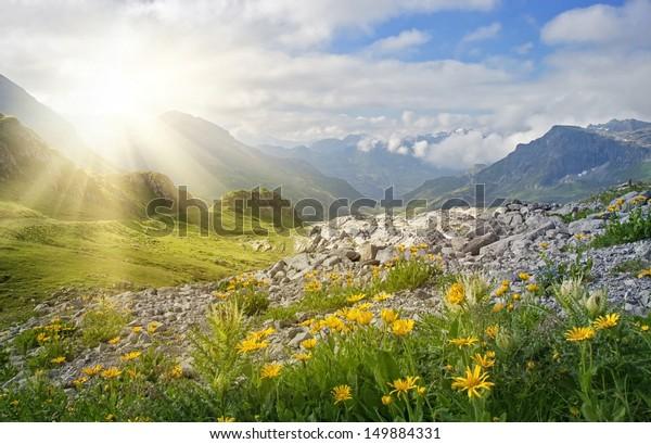 Berglandschaft in Vorarlberg, Österreich