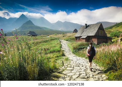 Mountains landscape. Young woman walking a trail in a green mountains. Hala Gasienicowa, Tatra Mountains, Poland.
