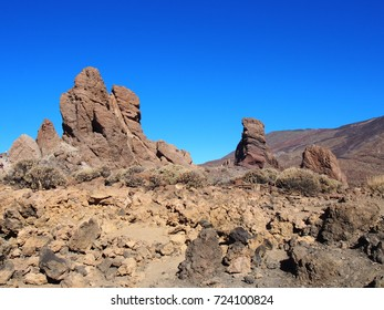 mountains and large rock formations in teide national park tenerife