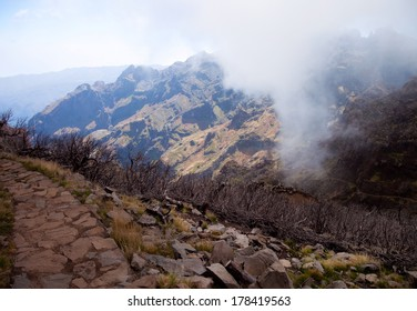 Mountains of Madeira island above the clouds at Pico do Areeiro and Ruivo