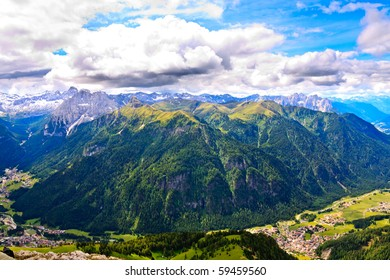 Mountains of Marmolada group in Dolomites.