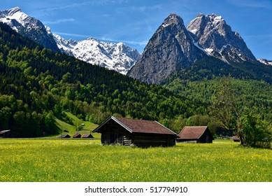 Mountains and meadows near Grainau, Oberbayern