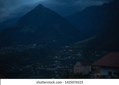 Mountains from meran at night