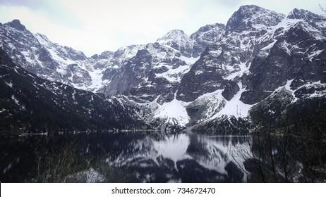 Mountains mirroring in lake, transparent water images